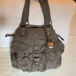 Liz Claiborne gray leather carryall bag❤️❤️